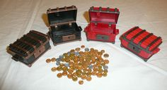 Playmobil Mixed Accessories Lot - 2 Red Pirate Chests, 2 Brown - Lots of Coin  #PLAYMOBIL