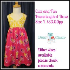 Handmade By Bear In A Chair  Cute and Fun Hummingbird Dress