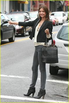 blazer,cream shirt, gray jeans and maybe some oxford heels?