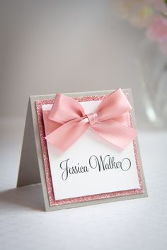 Show your guests their assigned table with these custom place cards, made-to-order in any color! Diy Place Cards, Diy Cards, Bridal Luncheon, Seating Cards, Ribbon Wrap, Diy Bow, Glitter Cards, Table Cards, Wedding Stationary