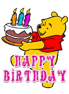 Winnie The Pooh Birthday Sticker for iOS & Android Happy Birthday Disney, Birthday Wishes For Kids, Birthday Cartoon, Happy Birthday Celebration, Cute Happy Birthday, Winnie The Pooh Birthday, Birthday Card Sayings, Happy Birthday Messages, Happy Birthday Images