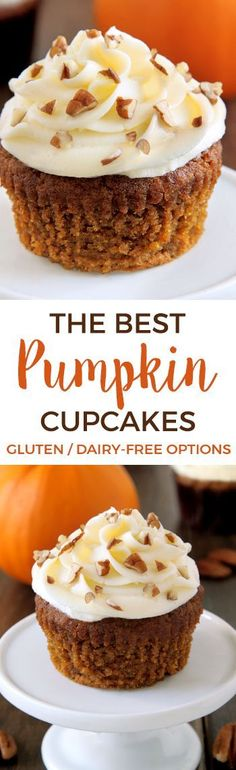 These pumpkin cupcakes are super moist, incredibly delicious and topped off with cream cheese frosting (with a dairy-free option). Can be made gluten-free, 100% whole grain and with all-purpose flour. (Gluten Free Recipes Cupcakes)
