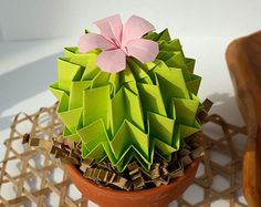 Ever Green Origami Paper Cactus With Pink Blossom Pot - Desk Accessories Home Decor