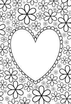 Grote - mensen - kleurplaat: hart met bloemen
