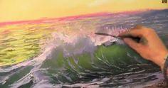 Пишем море маслом на холсте, закат, волна (кисть, мастихин) Игорь Сахаров