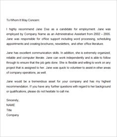 job reference letter Sample Recommendation Letters For Employment - Documents in Word Professional Reference Letter, Reference Page For Resume, Writing A Reference Letter, Professional References, Reference Letter Template, Letter Templates, Personal Reference, Email Templates, Reference Images