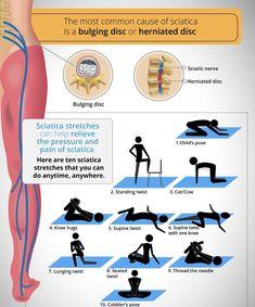 Herniated Disc Lower Back, Sciatica Exercises, Exercises For Herniated Disc, Slipped Disc Exercises, Sciatica Massage, Lumbar Pain, Sciatic Pain, Lower Back Exercises, Relieve Back Pain