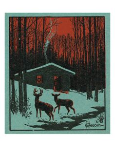 Nature Magazine - View of Deer in the Forest, Winter Scene with a Cabin, c.1951 Print at Art.com