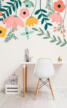 How to add wow-factor to your walls! Bright pastels in this floral wallpaper bring a joyful touch to your home while staying stylish. Ideal for girl's bedroom spaces looking for a playful design that'll look good for years to come.