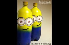 Despicable Me Minion Birthday Party game from spray-painted soda bottles- Minion bowling- ParentMap