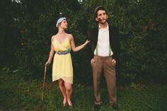 Vintage Wedding Couple.. fun idea for engagement photos. chris would like.. becuase golf. ha