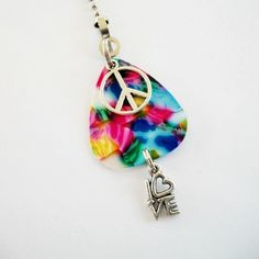 Guitar Pick Fan Pull Peace & Love Pink Tie by susanwilliamsdesigns, $14.00