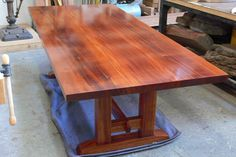 Solid mahogany table, 5 coats of hand-rubbed oil finish Designed and built by Nick, x x Farmhouse Dining Table Set, Mahogany Dining Table, Dining Table With Bench, Rustic Table, Dining Room Table, Trestle Table, Custom Furniture, Table Furniture, Plywood Furniture