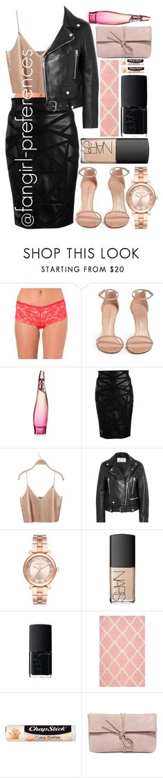 """Leather"" by fangirl-preferences ❤ liked on Polyvore featuring Chantelle, Stuart Weitzman, Donna Karan, Versace, Acne Studios, Michael Kors, NARS Cosmetics, nuLOOM, Chapstick and LULUS"
