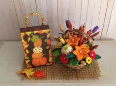 Miniature Fall Floral Arrangement In A by LittleThingsByAnna