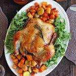 Pollo marinado al horno con vegetales