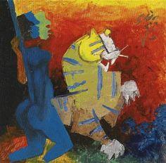 Untitled (Blue Figure and Tiger) - M.F. Husain - Cubism, 1964