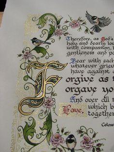 Forgive One Another Illuminated Calligraphy от angelworx на Etsy Calligraphy Doodles, Calligraphy Alphabet, Islamic Art Calligraphy, Hand Lettering Art, Creative Lettering, Illuminated Letters, Illuminated Manuscript, Alphabet Graffiti, Illumination Art