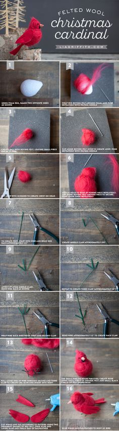 How to Make a Needle-Felted Cardinal Bird - Lia Griffith Make your own gorgeous felt cardinal bird to symbolize hope, joy, love, focus and energy. The perfect DIY tutorial by handcrafted lifestyle expert Lia Griffith Wool Needle Felting, Needle Felting Tutorials, Needle Felted Animals, Wet Felting, Felt Animals, Felted Wool Crafts, Felt Crafts, Cardinal Birds, Felt Birds