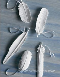 Roost Porcelain Feather Ornaments add an avian influence to your holiday tree. Hand-formed of unglazed porcelain in five lifelike shapes, each ornament includes a ribbon for hanging. Set of five mixed feather shapes