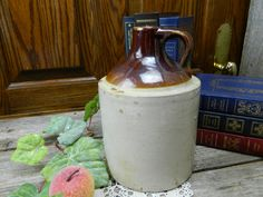Antique Gallon Two Tone Pottery Handle Whiskey Storage Jug - Primitive by on Etsy Glazes For Pottery, Glazed Pottery, Kitchenware, Tableware, Antique Auctions, Crock, Whiskey, Antiques, Primitive Décor