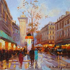 Another Perfect Day in Paris by Elena Katsyura Oil ~ 6 x 6