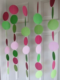 Paper Garland, Green and PInk Circles Dangling Decorations, Baby Shower Tea Party Baby Shower, Baby Shower Themes, Baby Shower Decorations, Bridal Shower, Wedding Showers, Shower Ideas, Birthday Decorations, Frog Baby Showers, Strawberry Decorations