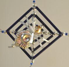 1930s Czechoslovakia Authentic Antique Beaded Ornament Spider Web Blue