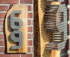 Teds Wood Working - Use reclaimed wood and screws to make a personalized house number sign. - Get A Lifetime Of Project Ideas & Inspiration! Industrial House Numbers, Wood Projects, Craft Projects, Project Ideas, Woodworking Plans, Woodworking Projects, Number Crafts, Creation Deco, Ideias Diy