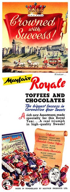 Mayfair Toffees And Chocolates are crowned with success!  vintage ad 1950s chocolate toffee candy