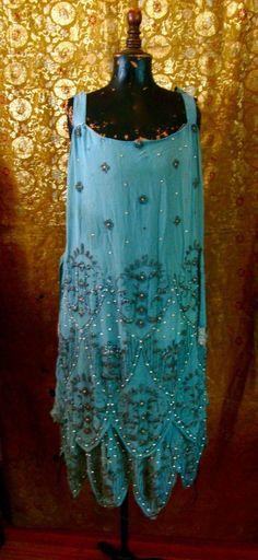 1920s teal beaded dress