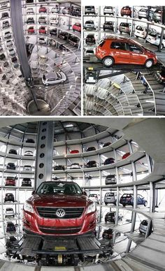 Incredible parking tower in Germany - never have to worry about someone bumping or scratching your flippin car! Parking Building, Car Parking, Volkswagen, Garage Systems, Parking Solutions, Underground Garage, Architectural Section, Transportation Services, Modern Landscaping
