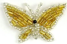 """Butterfly Beaded Silver and Gold 1"""" x 2"""""""