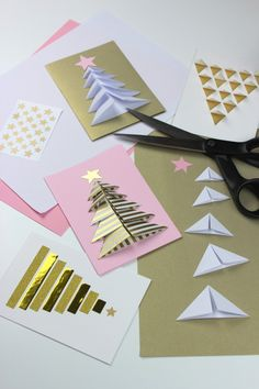photo tutorial ... handmade Christmas cards ... trees ... origami units .,,, goldne tapes ... luv them!