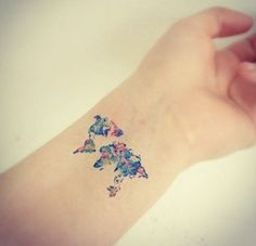 World map watercolor tattoo google search inkling pinterest thinking of getting a teeny weeny tattoo get inspired by these little beauties theyre so delicate and lovely theyll be totally worth the seven minutes of gumiabroncs Gallery
