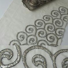 Beaded Embroidery, Embroidery Designs, Edwardian Dress, Textiles, Diy And Crafts, Stitch, Beads, Silver, Handmade