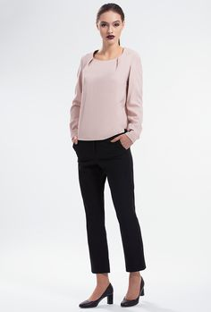 BROOD STRAIGHT-LEG TROUSERS by PULSE Cut from a stretch felt-blend, these pants are impeccably tailored, with a straight-leg shape that is smart and flattering. They're finished with discreet slant pockets andanabove-ankle cropped hem. Concealed hook and zipper at front. Material: Felt-blend 71% Polyester 24% Rayon 5% Spandex Colour: Black Size: EU 34 - US 2 to EU 44 - US 12 Care: Dry clean.