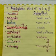 """Teach strategies for decoding multisyllabic words and then have a """"Word of the Day"""" ...kids love it!"""