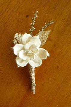 Love this but ribbon instead of burlap! Boutonniere Sola Wood Boutonniere Wedding by TheBloomingCorner, $13.00