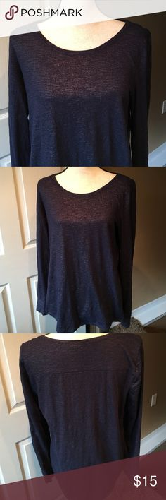 Ann Taylor Long Sleeved Shirt Pretty Denim Blue colored shirt with a fine silvery shimmer.  Long sleeves and 100% Cotton.  This fun top may be dressed up or down!  Only worn 2 times! Ann Taylor Tops Tees - Long Sleeve