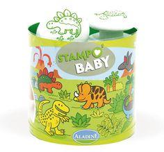"""""""Stampo Baby Dinosaurier""""  Mit Stampo Baby können die Kleinen ab 18 Monaten ihren Spaß daran entdecken, ihre ersten Motive mit den großen ergonomischen Stempeln abzubilden. Inhalt: ein Maxi-Stempelkissen mit abwaschbarer Tinte und 5 große Stempel für kleine Babyhände.      ab 18 Monaten     abwaschbare Stempelfarbe"""