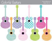 Digital Clipart - Colorful Patterned Guitars for Scrapbooking, Paper crafts, Cards Making, invitations commercial use INSTANT DOWNLOAD