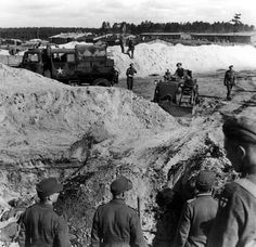 Bergen Belsen death, Germany, British soldiers using a bulldozer to dig a mass grave for the burial of the dead, after the liberation of the camp, April 1945. And yet the British, after witnessing the death camps worked hard to keep Jews from entering Israel. Shameful