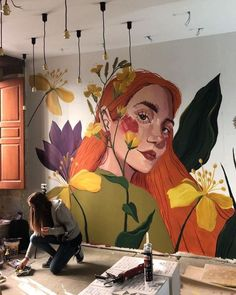 Creative Wall Painting, Wall Painting Decor, Mural Wall Art, Wall Painting Flowers, Mural Floral, Flower Mural, Murals Street Art, Wall Drawing, Decoration Inspiration