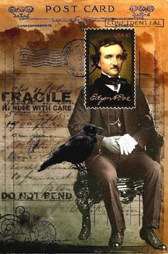 Three Muses -- brilliant postcard design around a stamp (edgar allan poe). Edgar Allan Poe, Mail Art, Altered Books, Altered Art, Art Journal Pages, Art Journals, Blog Art, Raven Art, Postage Stamp Art