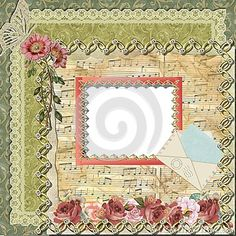 Digital frame with transparent transparent, romantic theme.  Suitable for photographs or other works.