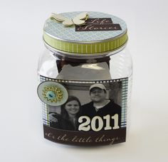 a jar to keep your yearly memories in ~ we need to open this every year on New Years' Day and relieve our last years' memories.  So fun!