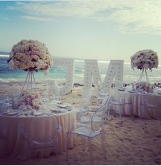 The most perfect beach wedding. Centre pieces are perfect