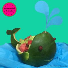 Custom designed and carved watermelon whale fruit salad for a baby boy's 1st birthday.  Let us design a watermelon fruit salad to suit your event!  Enquiries: hello@watermelonfriends.com.au
