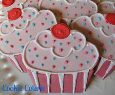 Cupcake Cookies Decorated Cookies Birthday Party Baby Shower Cookie Favors. $24.00, via Etsy.